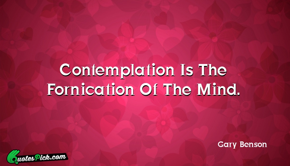 Contemplation Is The Fornication Of The Quote by Gary Benson